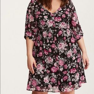 Torrid Floral Chiffon Shirt Dress
